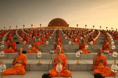 Thousands of Thai monks in meditation.