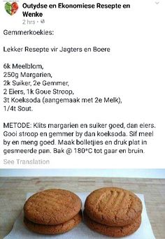 Gemmer koekies Cookie Desserts, Cookie Recipes, Dessert Recipes, Ginger Cookies, Yummy Cookies, Kos, Delicious Desserts, Yummy Food, South African Recipes