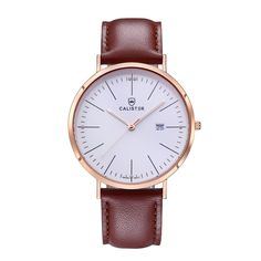 The Bauhaus Rose Gold & White Dial with Leather Strap brings new dimensions of elegance and comfort to Bauhaus design. The large 41mm diameter contrasts the slenderness of the polished stainless steel case. - BAU001 - #calister