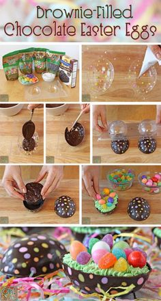 Brownie-Filled Chocolate Easter Eggs - try filling with truffle ingredients Easter Cookies, Easter Treats, Desserts Ostern, Plastic Eggs, Easter Chocolate, Chocolate Bowls, Cake Chocolate, Cookies Et Biscuits, Easter Recipes