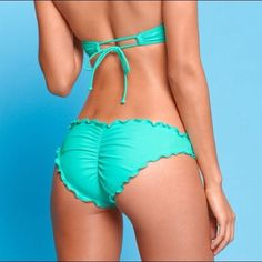 Cheeky sea foam green bikini bottoms Pretty color, makes your butt look amazing and fat only worn twice, size small. make an offer! PINK Victoria's Secret Swim Bikinis