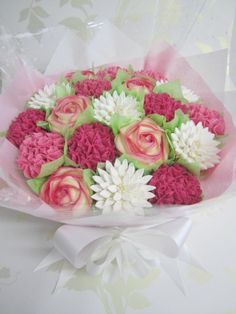 A large cupcake bouquet by Mrs Baker's Cakes