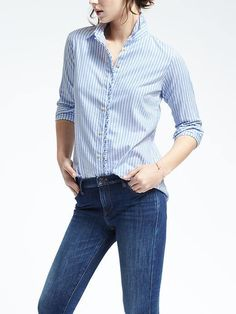 Dillon-Fit Striped Ruffle Placket Shirt{12/25}    40.80