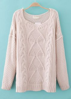 Beige Long Sleeve Loose Cable Knit Sweater US$33.44