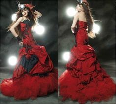 Deep Red & Black Gothic Vintage Steampunk Prom by TheGothicAsylum