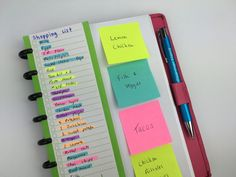 color coded grocery list highlighters sticky notes simple planner ideas hack efficient inspiration ideas tips bullet journal spread bujo addict planning http://www.allaboutthehouseprintablesblog.com/6-useful-ways-to-efficiently-plan-your-week-using-highlighters/
