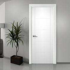 """"""""""" Internal Doors – Glazed, Panel, Wooden, Oak – Direct Doors UK """""""" A lovely example of quality styling for this Florida white primed flush door, very clean and simple but stylish. White Bedroom Door, Bedroom Door Design, Door Design Interior, Interior Design Living Room, Grey Internal Doors, Grey Doors, Scandinavian Doors, Flush Door Design, White Interior Doors"""