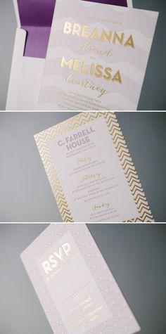Sweet Paper brides Breanna and Melissa's invitations - Gold foil and purple letterpress by Bella Figura