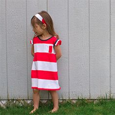 How to make a comfy and cute little girl dress from a sale rack/thrifted men's t-shirt.