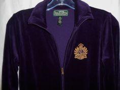LAUREN RALPH LAUREN Active Velour Women Jacket Sz S Small Deep Purple Gold Crest #LaurenbyRalphLauren #BasicJacket