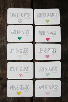 Stylish, Modern and Fun! Mismatched Hearts Escort Cards by The Ruffly Owl on Esty. With flowers instead! Wedding Place Cards, Wedding Paper, Our Wedding, Wedding Pins, Wedding Wishes, Seating Cards, Table Seating, Wedding Seating, Wedding Signage