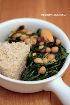 Mussels, Chickpeas and Dandelion with Brown Rice - Cozze, ceci e tarassaco con riso integrale