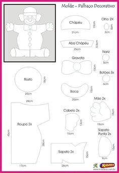 Molde de feltro para Decoração de Circo para festas  - Ver e Fazer Carnival Themes, Circus Theme, Circus Party, Foam Crafts, Diy And Crafts, Sewing Crafts, Sewing Projects, Angel Wings Art, Crochet Santa