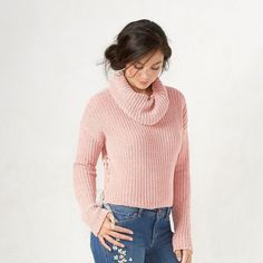 Women's LC Lauren Conrad Cropped Cowlneck Sweater ($54) ❤ liked on Polyvore featuring tops, sweaters, pink, white crop top, pink sweater, white cropped sweater, long sleeve crop top and long sleeve crop sweater