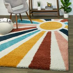 Buy 4' x 6' Area Rugs Online at Overstock | Our Best Rugs Deals Funky Rugs, Cool Rugs, Colorful Rugs, Textiles, Target Rug, Polypropylene Rugs, Nursery Rugs, Girl Nursery, Yellow Area Rugs