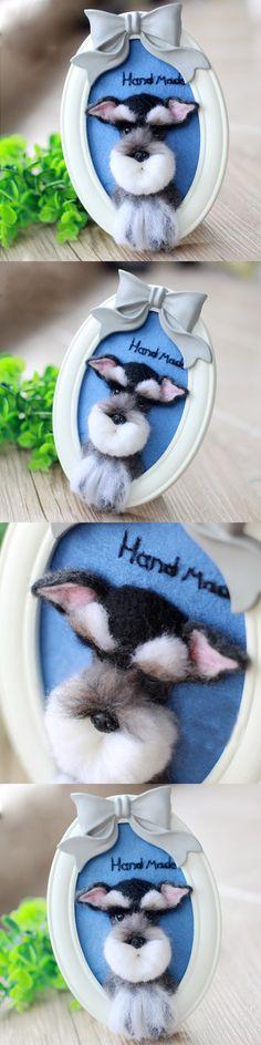 Handmade Needle felted felting project animal cute dog poodle portrait felted wool doll