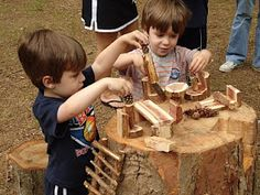 imagining...natural materials outdoors. I so want a few giant tree stumps for my school's playgrounds!