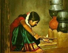 35 Most Beautiful Oil Paintings from Top Artists around the world - Indian Women Paintings - Indian Women Painting, Indian Art Paintings, Classic Paintings, Indian Artist, Beautiful Paintings, Modern Paintings, Painting People, Woman Painting, Drawing People