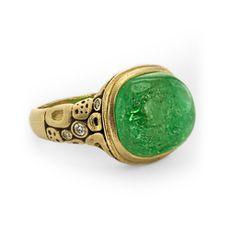 "R-18218k gold, diamond and green tourmaline ""Old House"" ring  Alex Sepkus"
