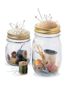 Prepper sewing kit made complete with a pin cushion top on a mason jar. - Could have posted this in a number of Boards, but it is a DIY. (gift ideas with pictures mason jars) Mason Jar Projects, Mason Jar Crafts, Mason Jars, Canning Jars, Pickle Jar Crafts, Pickle Jars, Upcycled Crafts, Easy Crafts, Geek Crafts