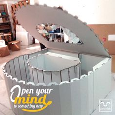 Open your mind to something new with cardboard designs! Cardboard letter to decorate any event! Designed by Cartonlab. #cardboardletter #eventdecor