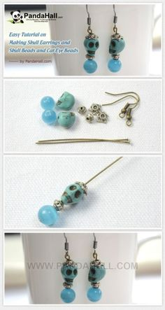 Easy Tutorial on Making Skull Earrings and Skull Beads and Cat Eye Beads Skull Earrings, Skull Jewelry, Diy Earrings, Cute Jewelry, Earrings Handmade, Jewelry Crafts, Beaded Jewelry, Handmade Jewelry, Hippie Jewelry