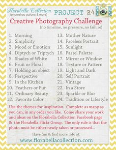Florabella Collection (Photoshop Actions & more) is hosting Project 24, a creative photography challenge.  No timeline, no pressure, no failure... Join us!  More info at www.florabellacol...
