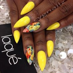nails -                                                      Summer stiletto nails: yellow with floral accent nails done by #laquenailbar #FrenchTipNails