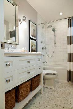 subway tile bathroom. Love the dresser/cabinets