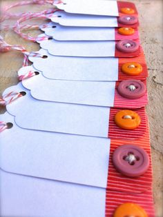 Pink and Orange Button Gift Tags