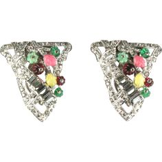 Colorful Flower Leaf Pave Rhinestone Pair of Dress Clips offered by Anna's Vintage Jewelry on Ruby Lane
