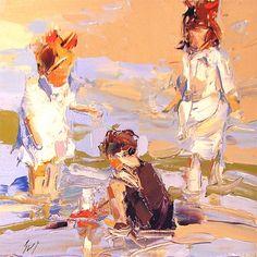 """En la playa"" después de que Edward Henry Potthast - a Sally Cummings Shisler"
