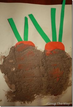 Books and Craft: We read The Carrot Seed and Growing Vegetable Soup. After we were finished reading we cut carrots out of card stock and painted over them with mud. Messy but fun!