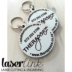 We laser cut and engrave on laser cut wooden key rings. Perfect for branding for businesses or ideal for wedding gifts with a personalized name or message.