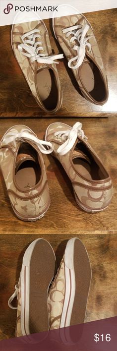"""Coach gold sneakers Coach gold """"c"""" designed sneakers Coach Shoes Sneakers"""