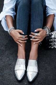 Silver Loafers For Women - ShopStyle Silver Loafers, Silver Shoes, Metallic Oxfords, Silver Jewelry, Shiny Shoes, Suede Oxfords, Jewelry Rings, Fashion Shoes, Fashion Accessories