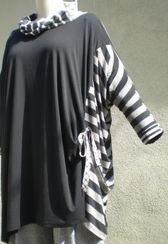 Black/Stripes Light Weight Cotton & Rayon Blends Sail Tunic O/S 1X2X3X Advanced Style by r.Browning
