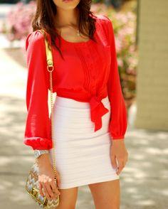 red blouse/white skirt