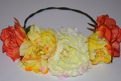 Large Flower Crowns | Desdemona, Large beautiful handmade Flower Crown, mixture of Peonies ...