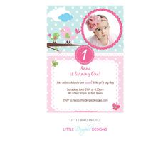 Pink Baby Bird Birthday Party Printable by LittleDimpleDesigns