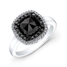 Black Diamond Engagement Ring 2.60ct Cushion Rose by blueriver47, $1980.00