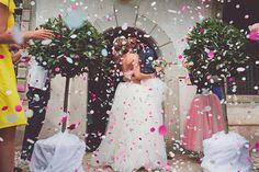 Confetti + the bride & groom #wedding