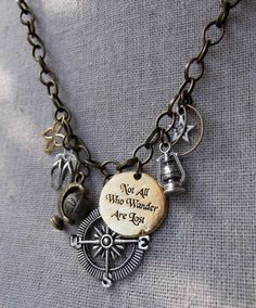 "Themed ""Not All Who Wander Are Lost"" Mixed Metal Charm Necklace on Chunky Antiqued Brass Chain"
