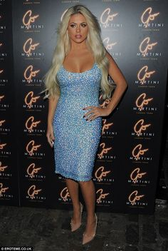 Eye-popping: All eyes were on Bianca's ample bust thanks to the dress' low-neck. Bianca Gascoigne, Evening Attire, Launch Party, All About Eyes, Martini, Curvy, Product Launch, Sparkle, Pop