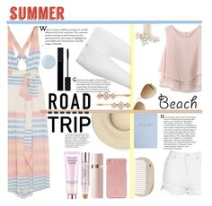 """Summer road trip essentials"" by lifeisworthlivingagain ❤ liked on Polyvore featuring Mara Hoffman, Topshop, Dorothy Perkins, Henri Bendel, Estée Lauder, Essie, Chicwish, Ray-Ban, Wedding Belles New York and HAY"