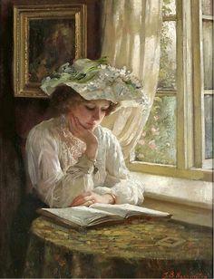 colourthysoul:  Thomas Benjamin Kennington - Lady reading by a window