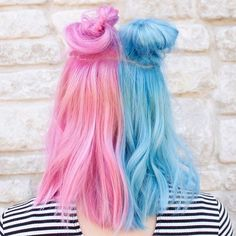 Cotton Candy Split inspo! Hair color by @jmcintyrehair. #Hairspo #Hairinspo #Inspiration #Inspo #Haircolor #Color #Colorist #Hair #Hairstyle #Buns #Splithair #Pink #Blue #Cottoncandy #Salon #Suavecitabeauty #Suavecita #Beauty