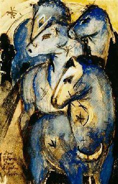 Franz Marc - Tower of blue horses (postcard to Else Lasker pupils)