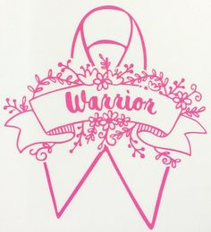 Breast Cancer Pink WARRIOR Vinyl Decal Pink Ribbon beautiful floral. You can choose from WARRIOR or SURVIVOR! Perfect for your car window, computer or anywhere you want to show...