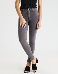 3c978ad0 American Eagle Denim X4 Hi-Rise jegging - color smoked grey size 10 long  Leather